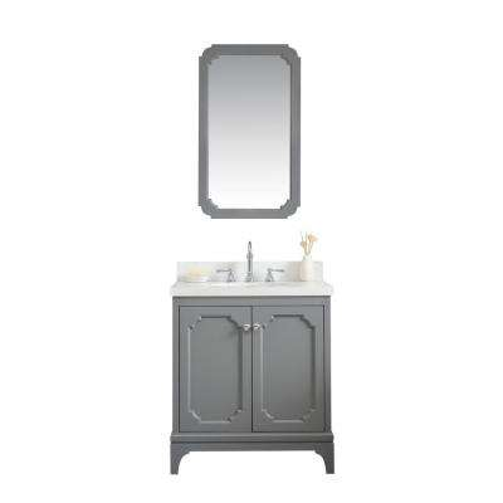 Queen 30 in. Bath Vanity in Cashmere Grey w/ Quartz Carrara Vanity Top w/ Ceramics White Basins and Mirror and Faucet