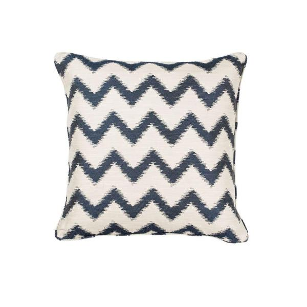 Decorative Throw Rugs: Kas Rugs Nappa Ivory/Navy Decorative Pillow PILL24418SQ