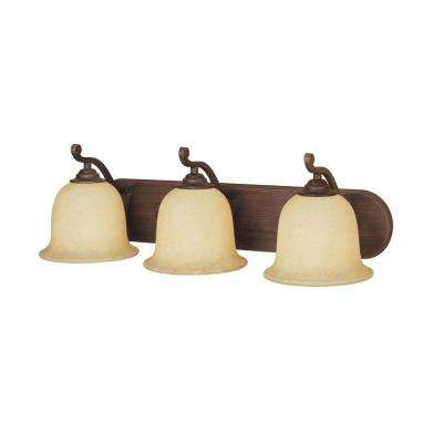 3-Light Rubbed Bronze Vanity Light with Turinian Scavo Glass