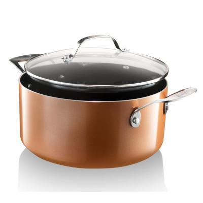 5 Qt. Aluminum Cast Textured Coating Non-Stick Stock Pot with Glass Lid