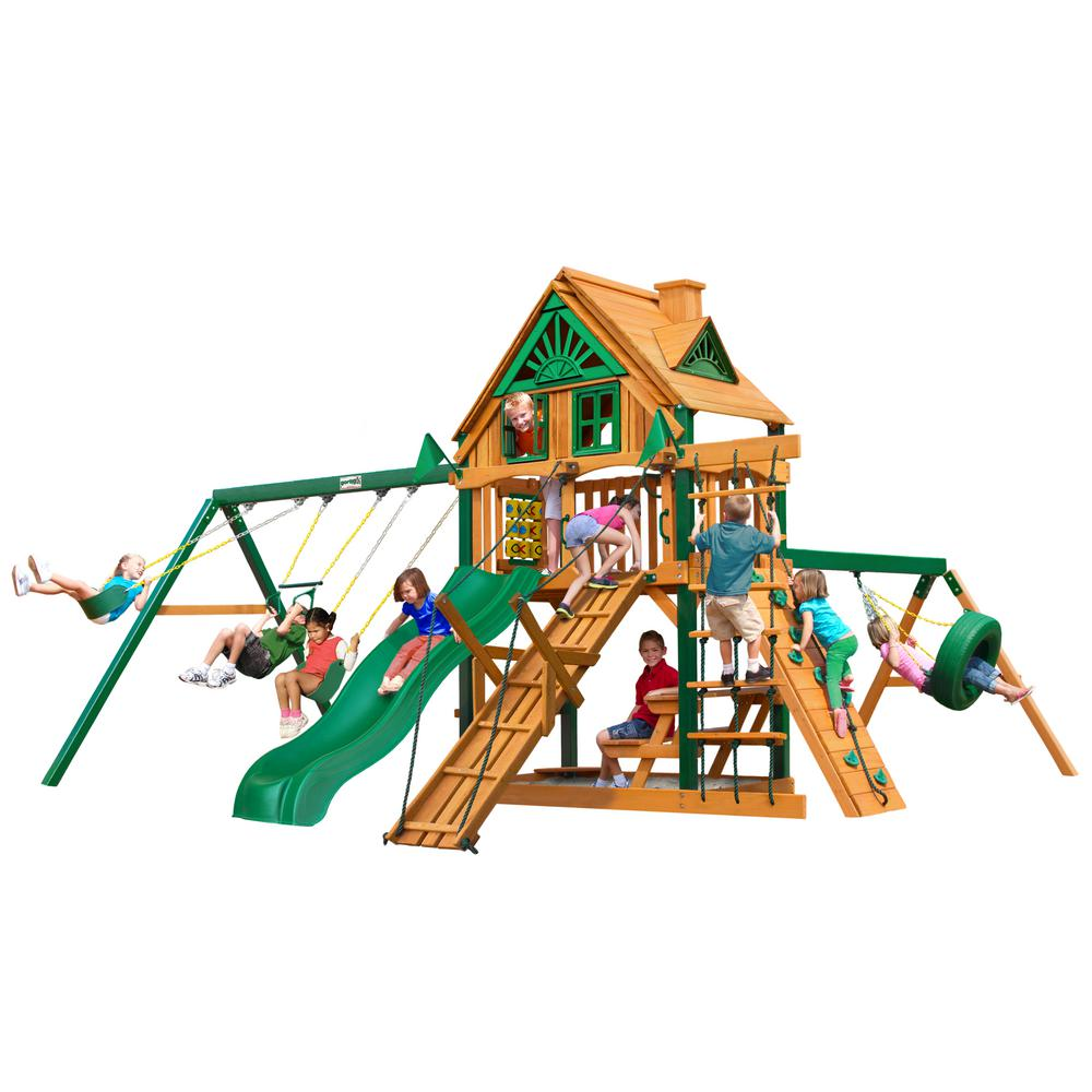 Frontier Treehouse Swing Set with Timber Shield Posts