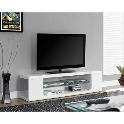 Monarch Specialties 59 in. Gloss White Particle Board TV Stand Fits TVs Up to 58 in.