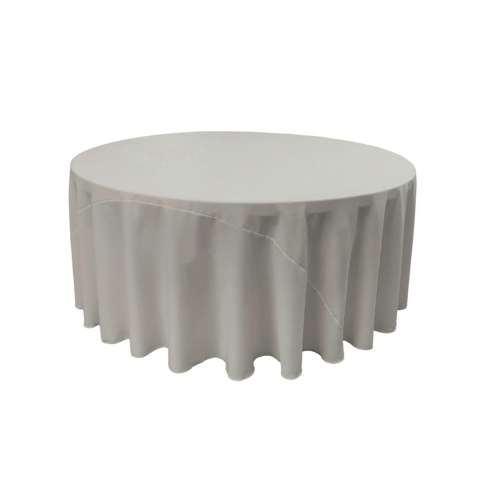 LA Linen 120 In. Light Gray Polyester Poplin Round Tablecloth