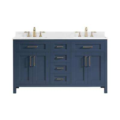 Tahoe 60 in. W Bath Vanity in Midnight Blue with Cultured Marble Vanity Top in White with White Basins