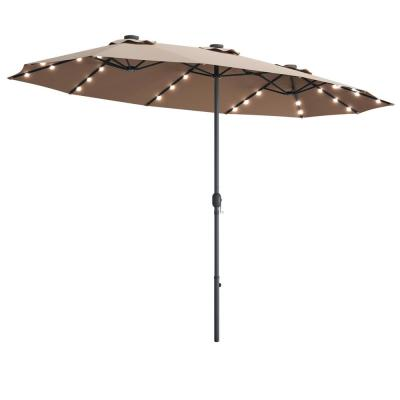 15 ft. Market LED Crank Solar Powered 36-Lights Patio Umbrella in Tan without Weight Base