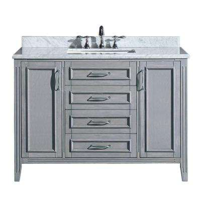 Madison 48 in. Vanity in Gray with Marble Vanity Top in Carrara White