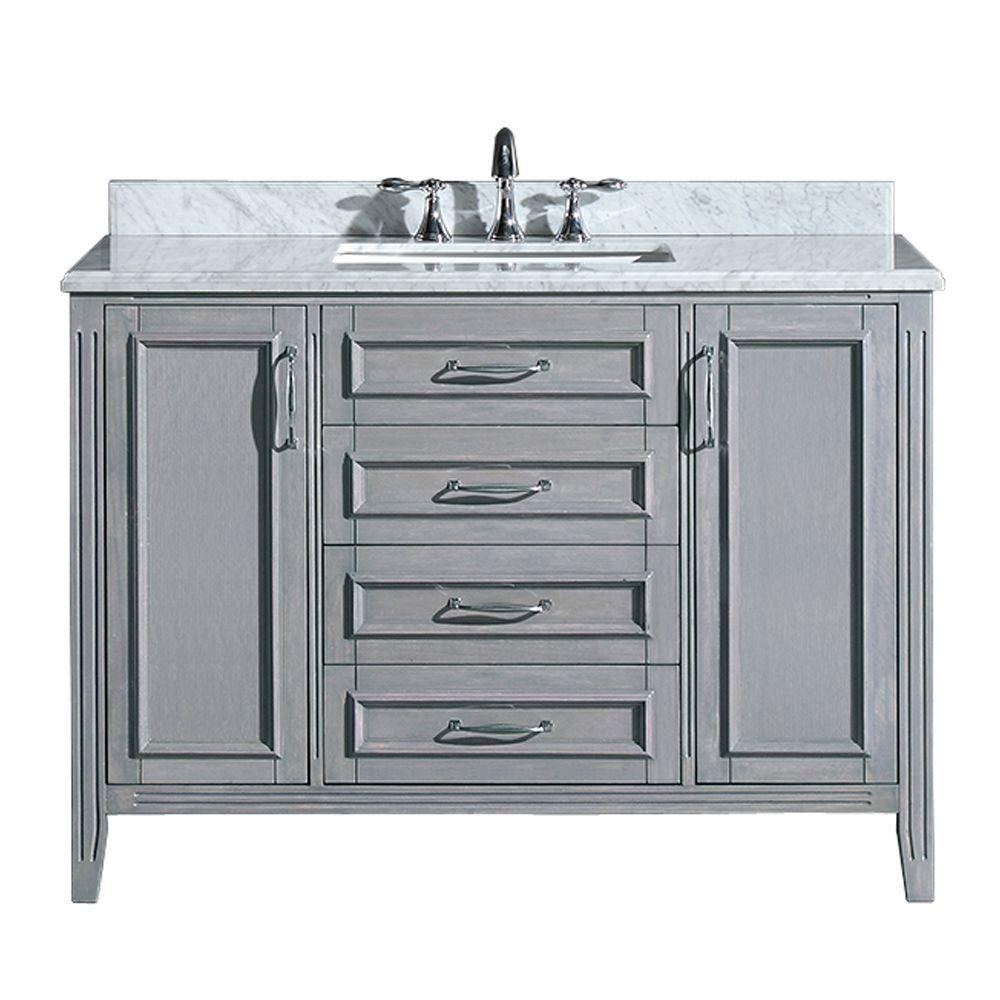 Vanity in Gray with Marble Vanity Top in Carrara White-PEMADISON36 - The  Home Depot