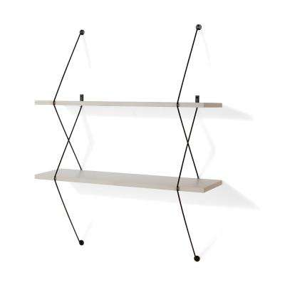 Contemporary 31.5 in. W x 38.5 in. H Two Level Grey Shelving System with Black Wire Brackets