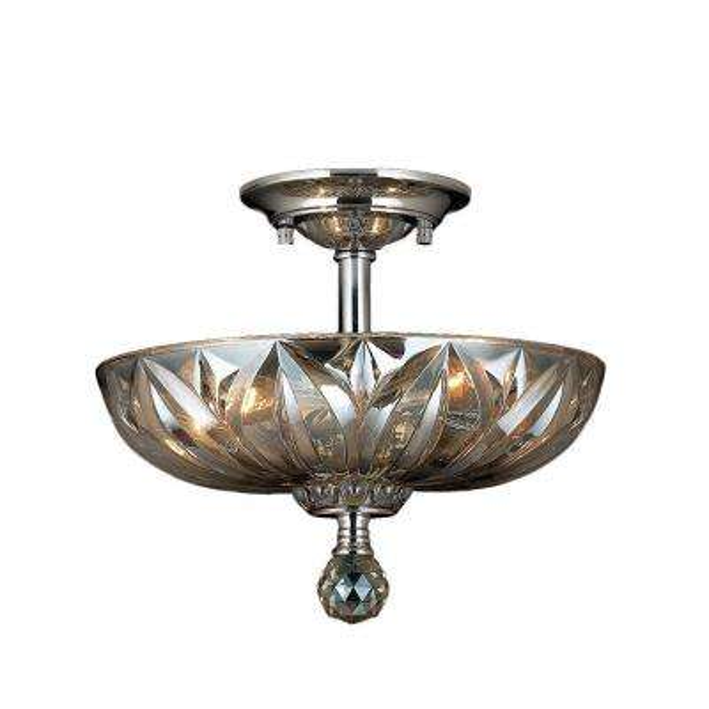 Mansfield 3-Light Chrome and Golden Teak Crystal Semi-Flush Mount Light