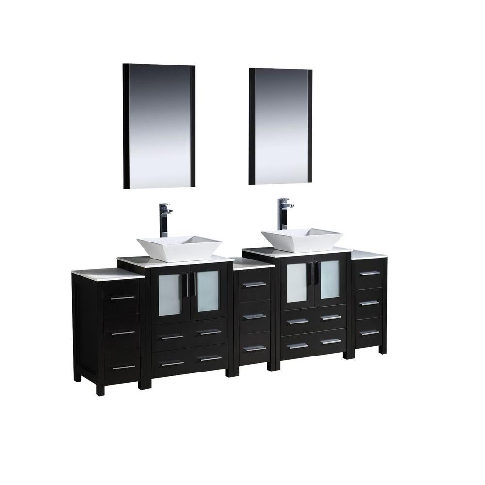 Fresca Torino 84 in. Double Vanity in Espresso with Glass Stone Vanity Top in White with White Basin and Mirrors