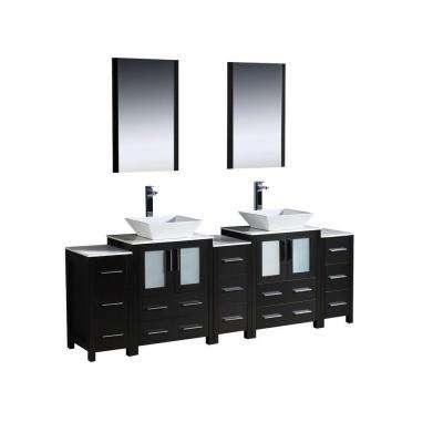 Torino 84 in. Double Vanity in Espresso with Glass Stone Vanity Top in White with White Basin and Mirrors