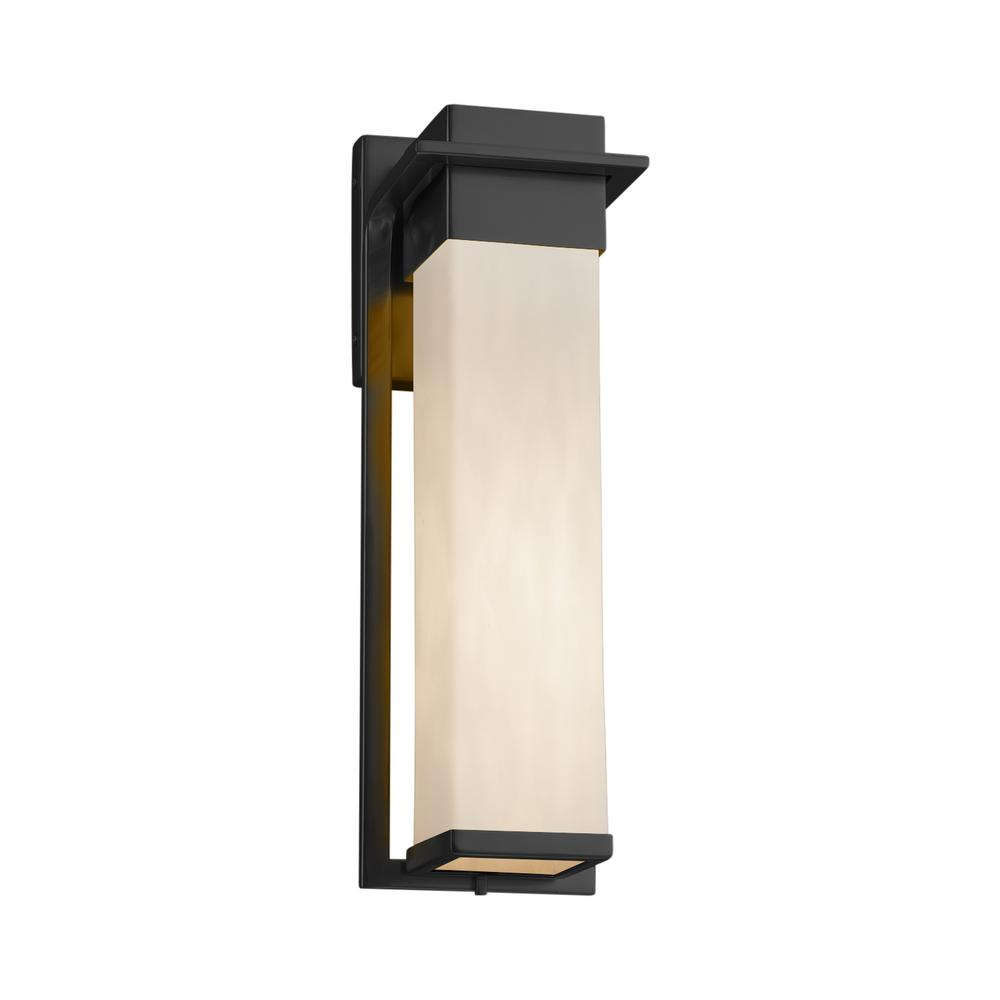 Justice Design Clouds Pacific Large Matte Black Outdoor Integrated LED Wall Sconce with Clouds Shade