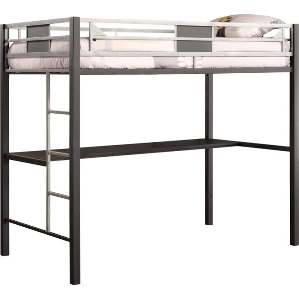 DHP Black Screen Twin Metal Loft Bed with Silver Accents 5461096