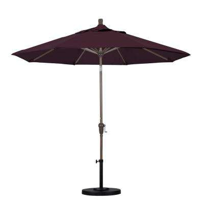 9 ft. Aluminum Auto Tilt Patio Umbrella in Purple Pacifica