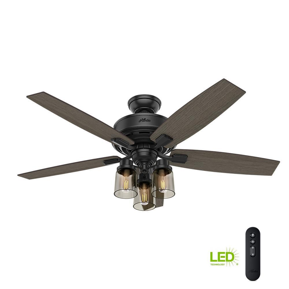 Bennett 52 in. LED Indoor Matte Black Ceiling Fan with 3-Light