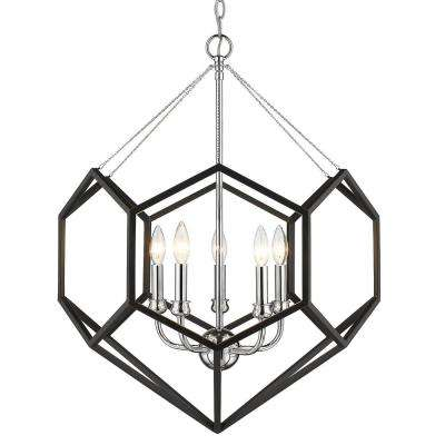 Damina 5-Light Chrome and Black Chandelier