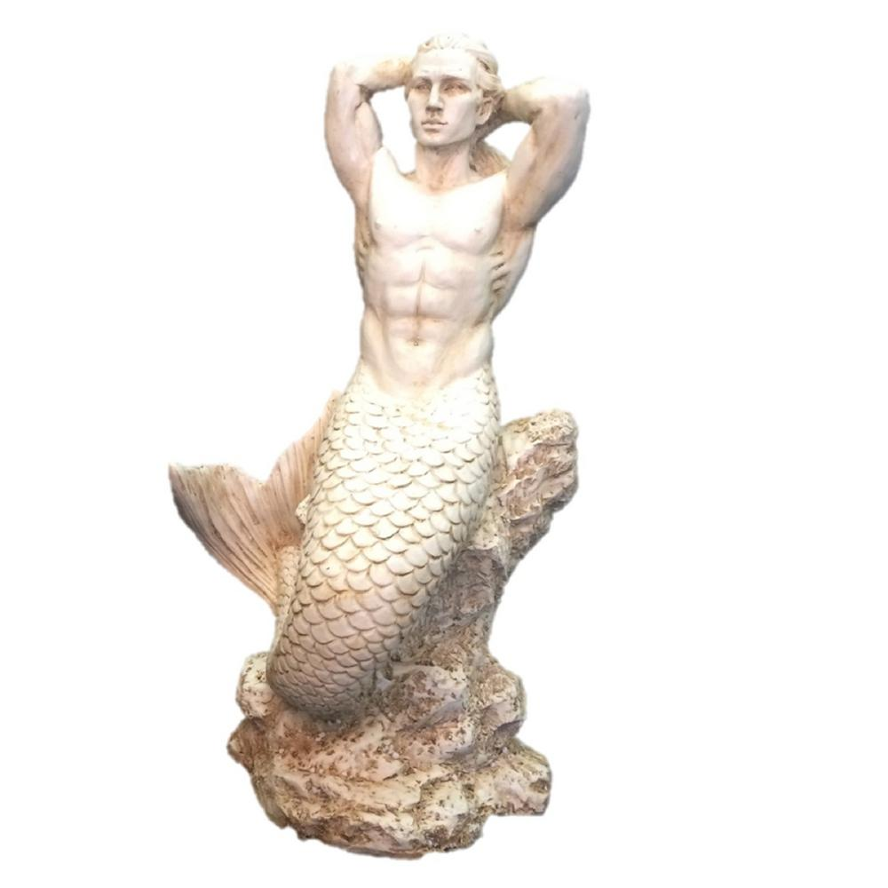21 in. H Antique White Sexy Merman Mermaid Sitting on Rock