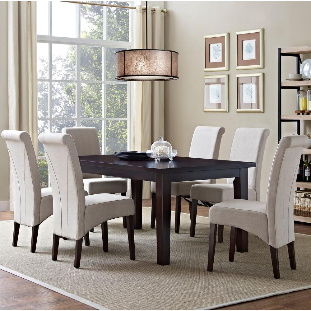 Simpli home avalon 7 piece natural dining set axcds7 avl for 7 piece dining room sets under 1000
