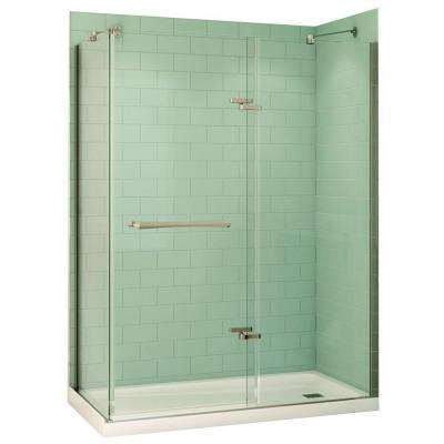 Reveal 32 in. x 60 in. x 74-1/2 in. Alcove Shower Kit in Chrome with Right Drain Base in White