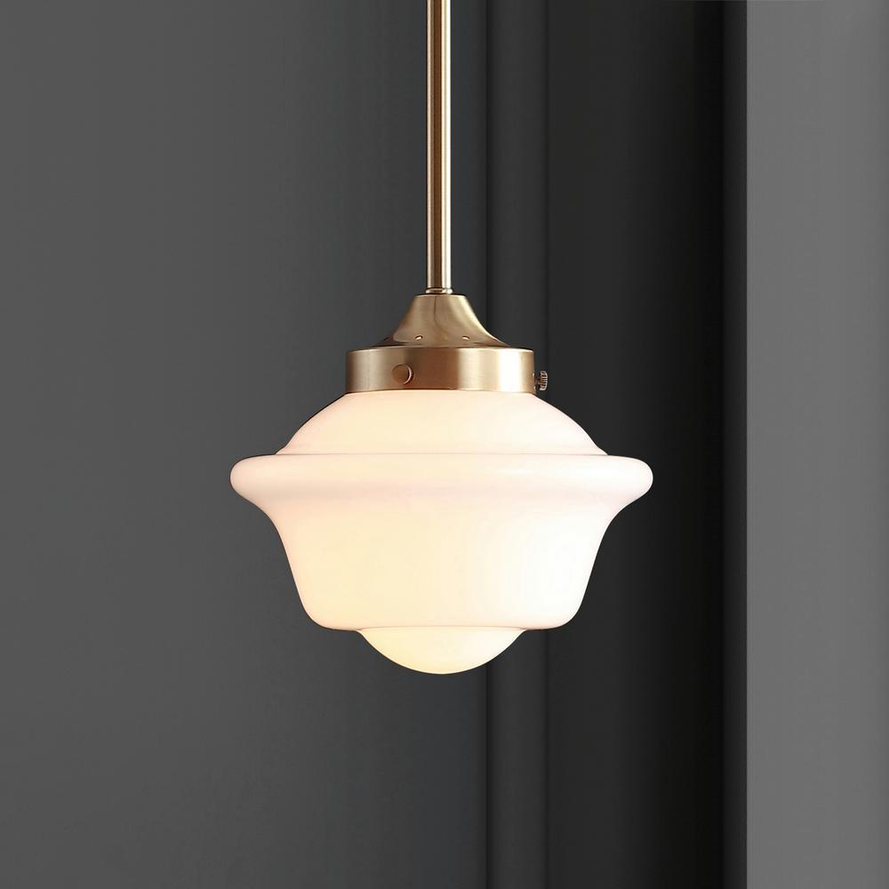 JONATHAN Y-Kurtz 7.2 in. 1-Light Brass Gold LED Pendant with Adjustable Drop Metal/Glass