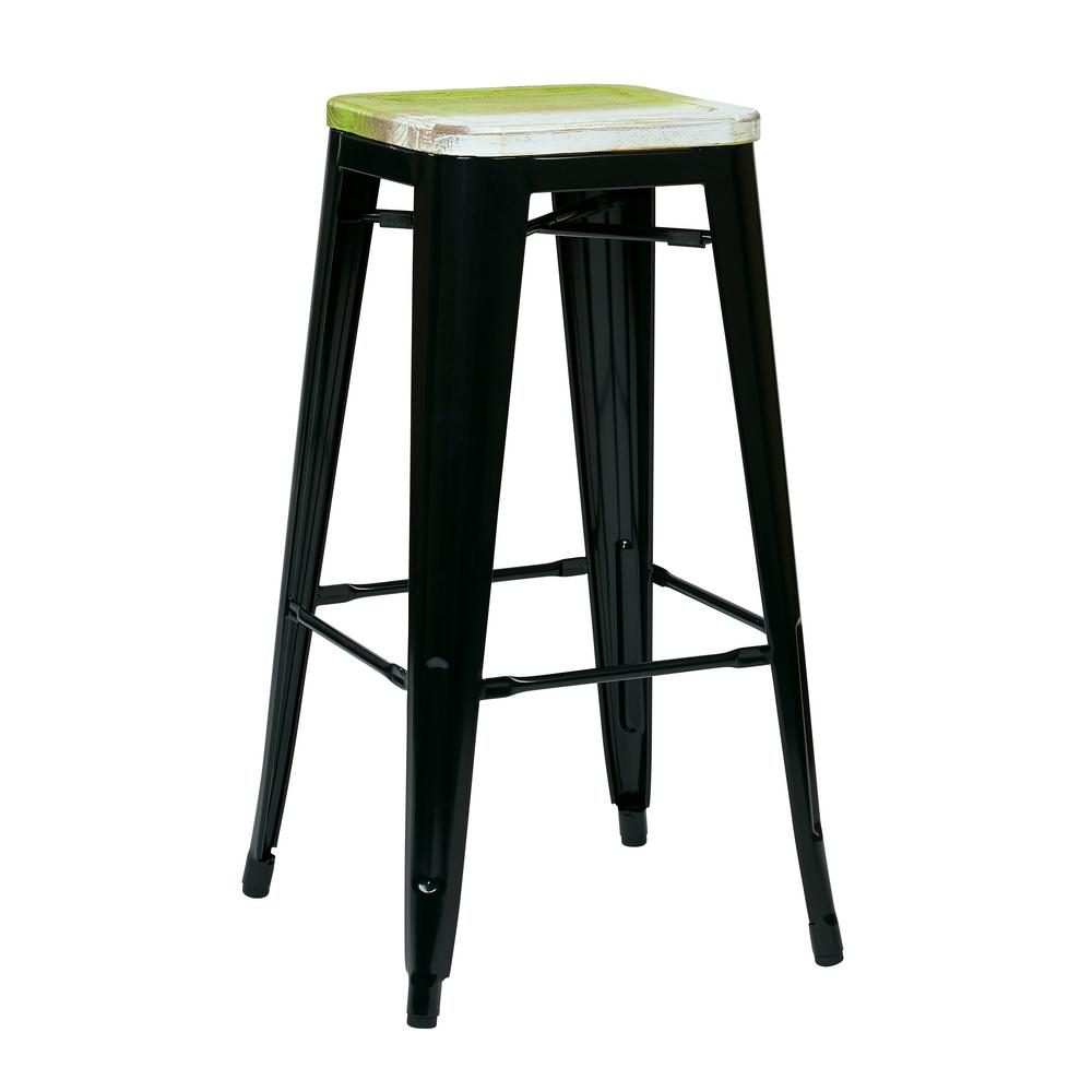 Osp Designs 30 In Bristow Black Metal Bar Stool With Vintage Wood
