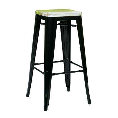 30 in. Bristow Black Metal Bar Stool with Vintage Wood Seat