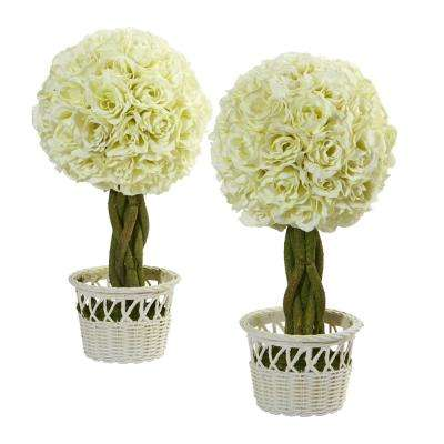 13 in. Rose Topiary Artificial Plant in White Wicker Pot (Set of 2)