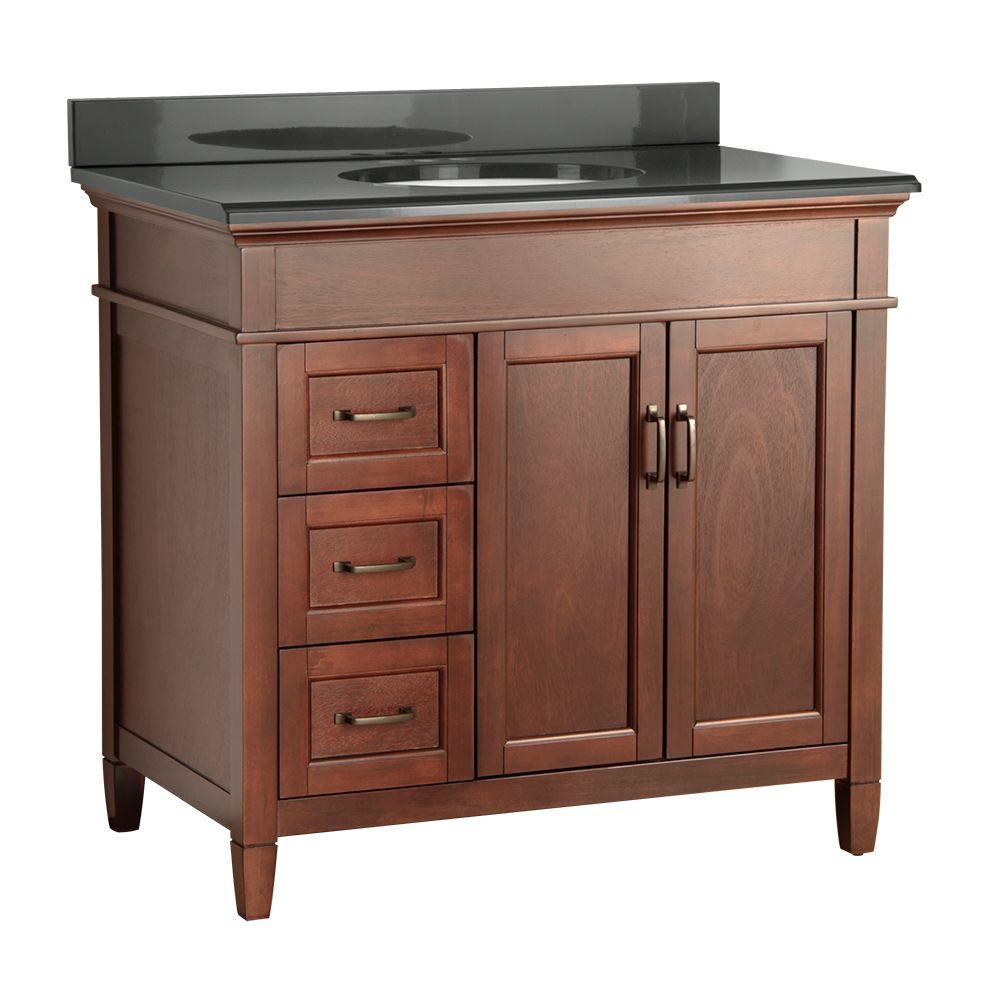 Foremost Ashburn 37 in. W x 22 in. D Vanity in Mahogany with Colorpoint Vanity Top in Black