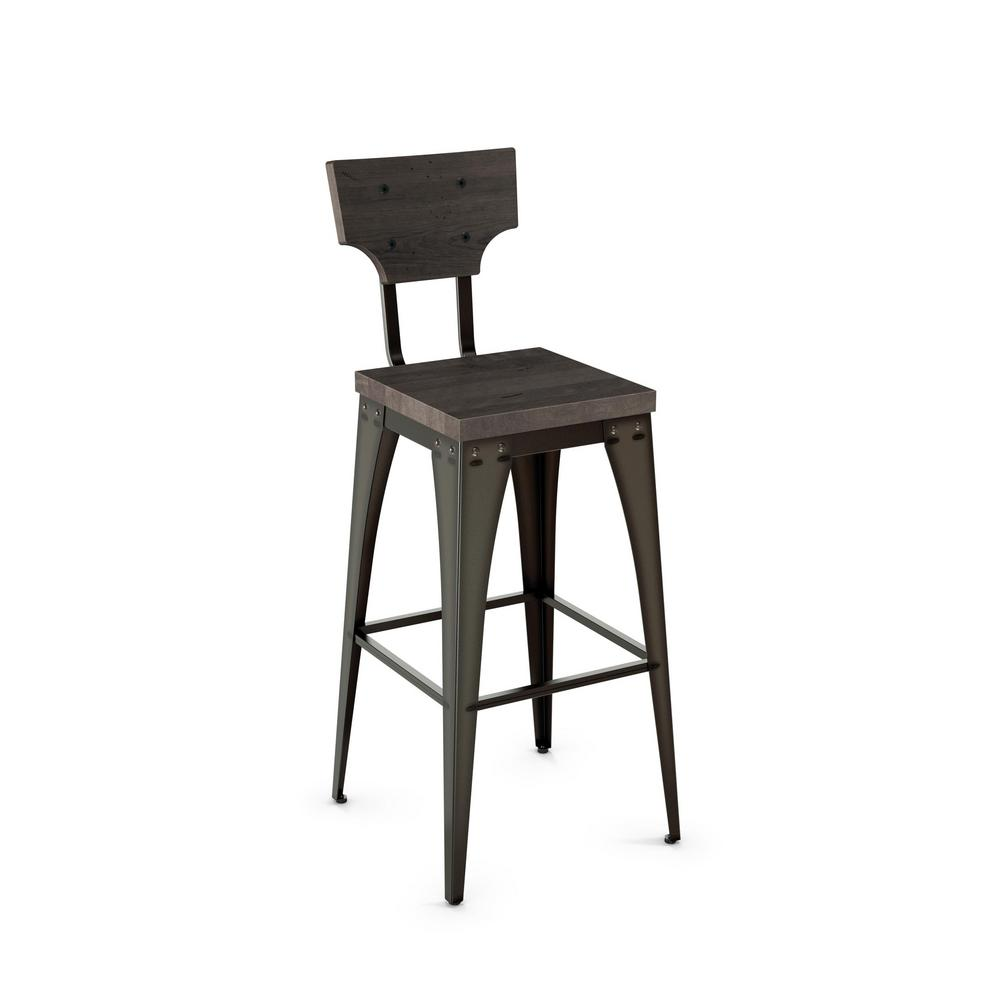 Station 26 In Semi Transparent Metal Grey Wood Counter Stool 40261