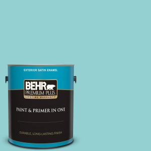 Behr Premium Plus 1 Gal M460 3 Big Surf Satin Enamel Exterior Paint And Primer In One 905001 The Home Depot
