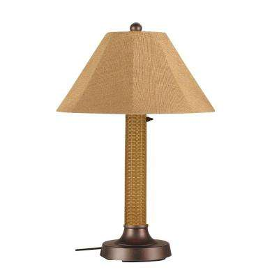 Bahama Weave 34 in. Mocha Cream Outdoor Table Lamp with Straw Linen Shade
