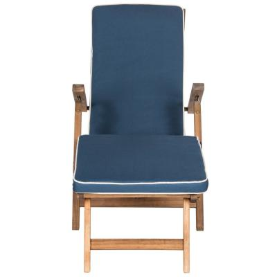Palmdale Natural Brown Folding Wood Outdoor Lounge Chair with Navy Cushion