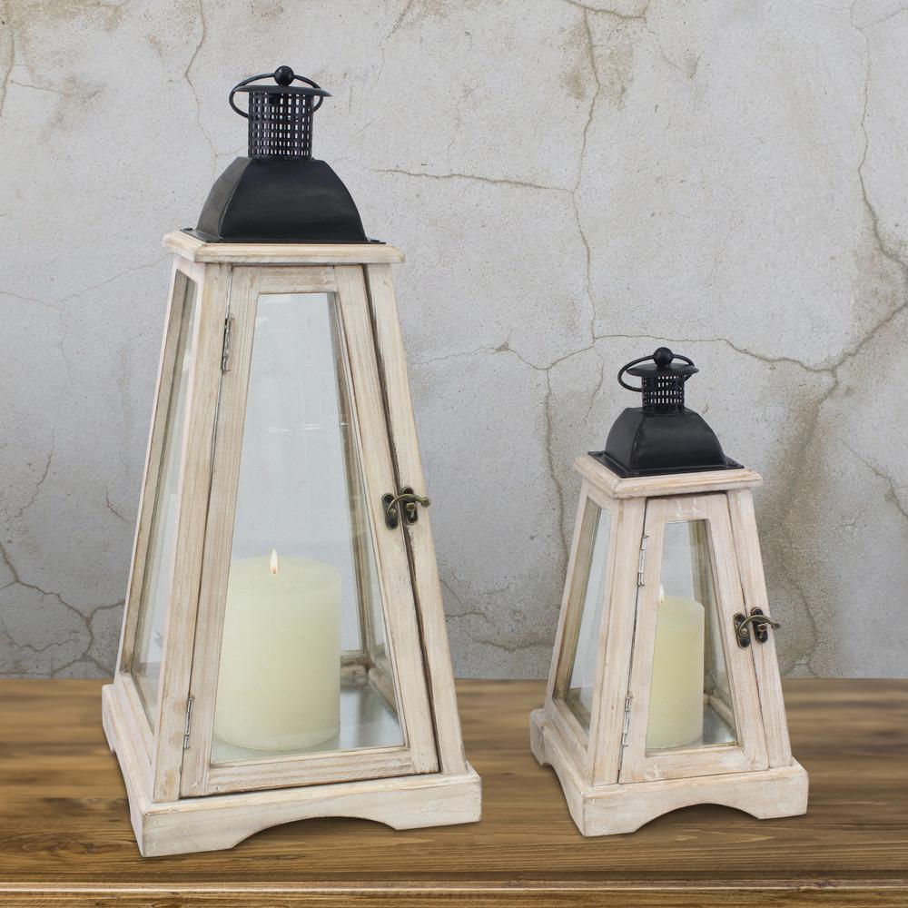 Coastal Worn White Wooden Candle Lanterns (Set of 2)