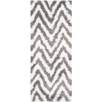 Chevron Shag Ivory/Gray 2 ft. x 10 ft. Runner Rug