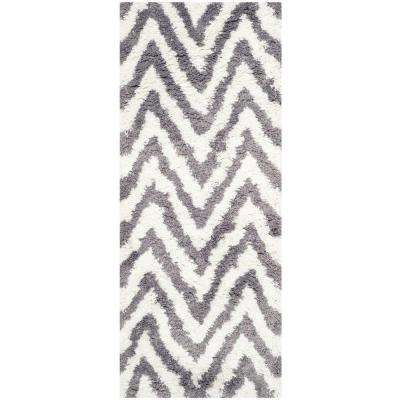 Chevron Shag Ivory/Gray 2 ft. x 6 ft. Runner Rug