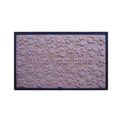A1HC First Impression Wipe Your Paws 18 in. x 30 in. Fun Molded Polypropylene Mat