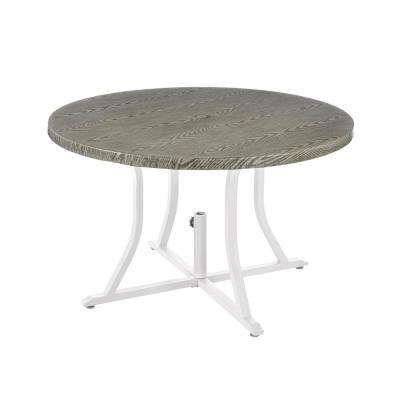 Beacon Park Gray 48 in. Diameter Round Steel Outdoor Patio Dining Table