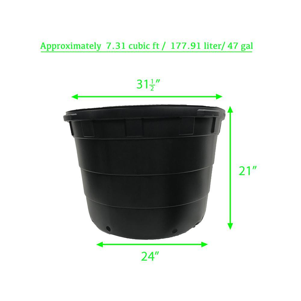 Viagrow 50 Gal Round Plastic Nursery Garden Pots 5 Pack 47 Actual Gallons 177 91 L 7 31 Cu Ft Vhpp4700 5 The Home Depot