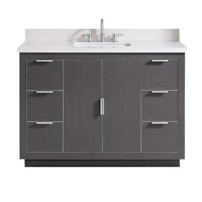 Austen 49 in. W x 22 in. D Bath Vanity in Gray with Silver Trim with Quartz Vanity Top in White with Basin