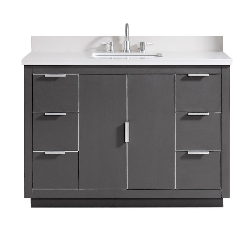 Bath Vanity Gray Silver Trim Quartz Vanity Top White Basin