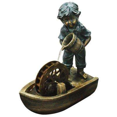 24 in. Boy with Bucket Boat Fountain