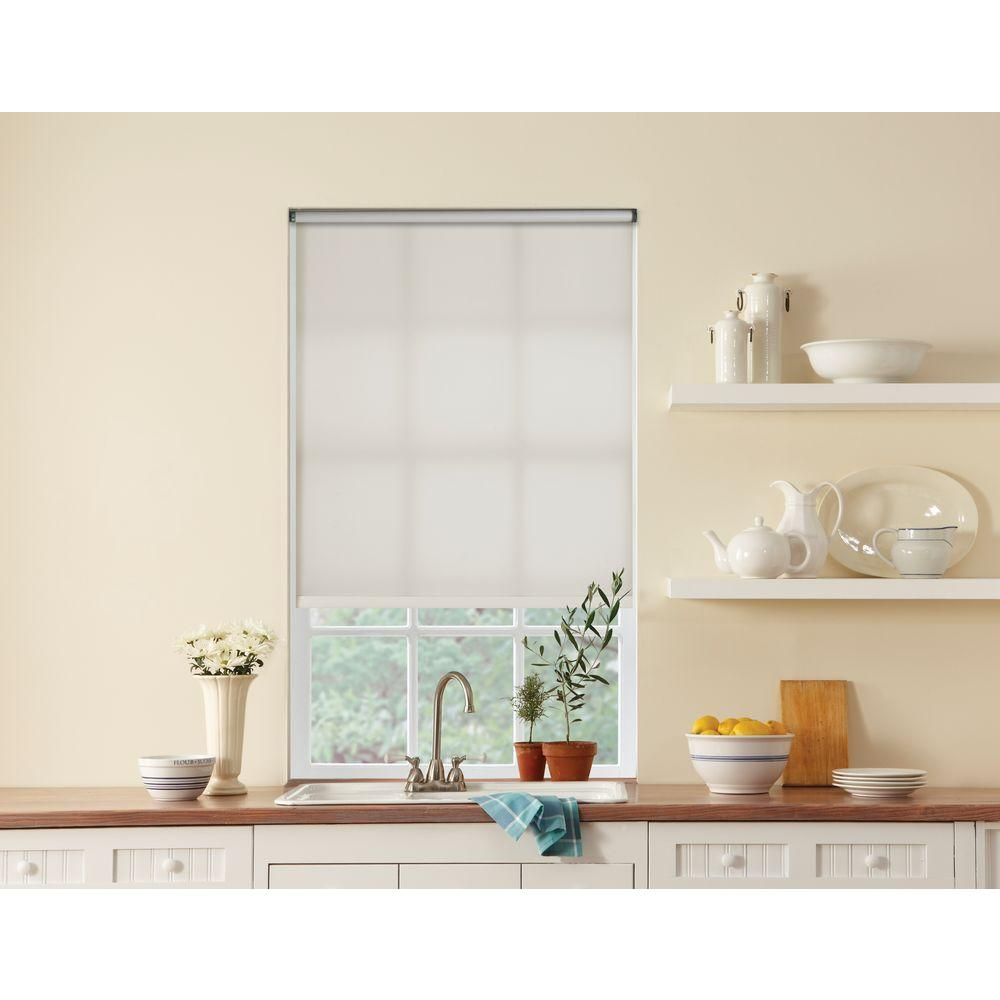 Bali Cut-to-Size White Cordless Light Filtering Roller Shade - 30.5 in. W x 72 in. L