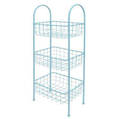 Metallic 3 Tiered 11 in. W Stationary Rack Stand in Blue Steel for Kitchen and Daily Needs