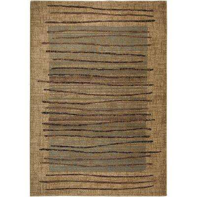 Bellevue Collection Beige Striped 5 ft. x 8 ft. Area Rug
