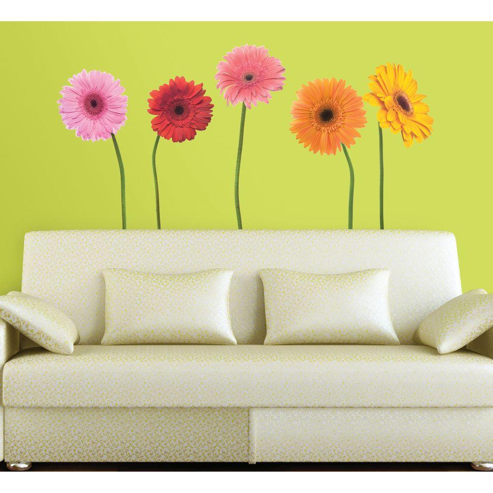 null Roommates Gerber Daisies Peel and Stick 25-Piece Wall Decals