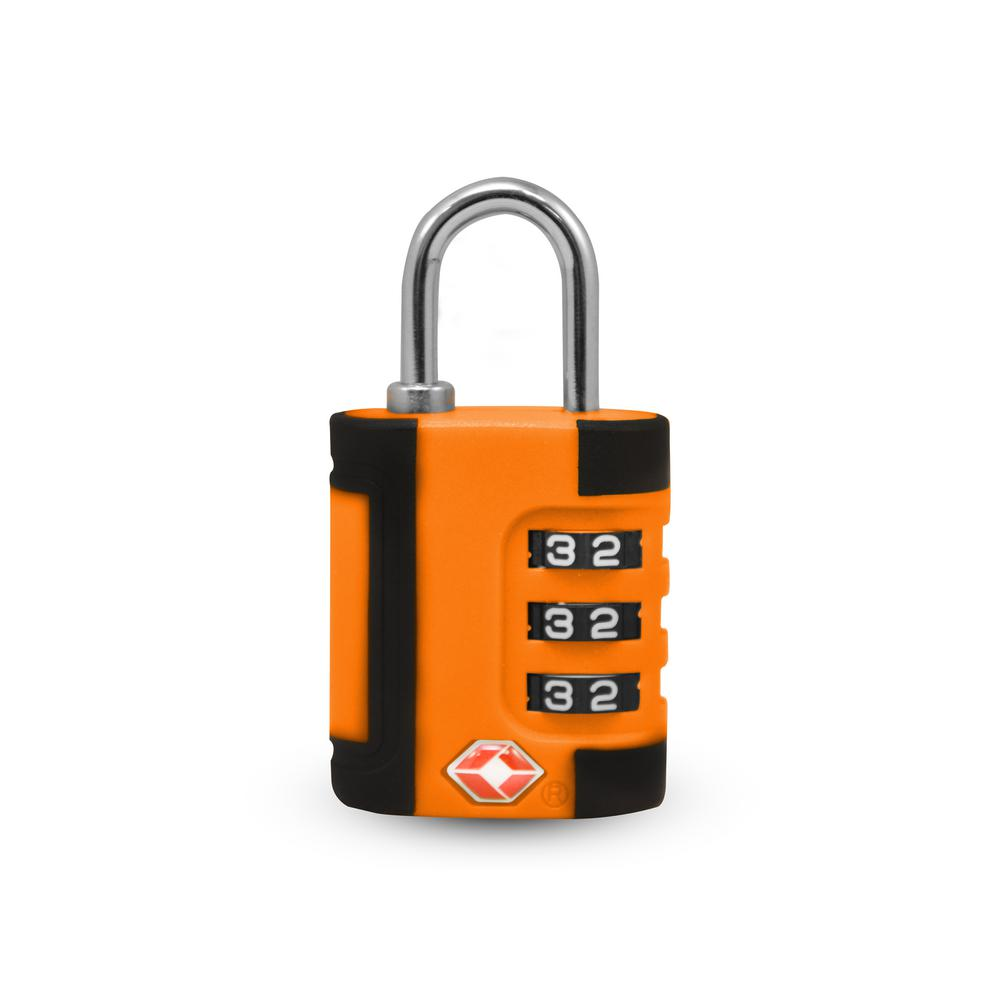 3 Digit Combination Padlock 2 Tone in Orange/Black - TSA Approved