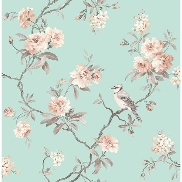 56.4 sq. ft. Chinoiserie Seafoam Floral Wallpaper
