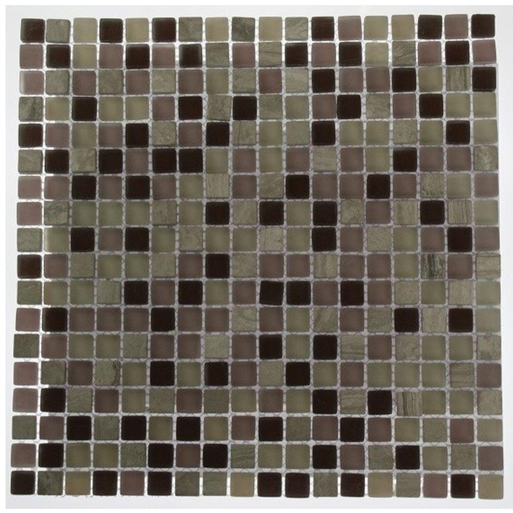 Splashback Tile Rocky Mountain Blend 12 in. x 12 in. x 8 mm Glass Mosaic Floor and Wall Tile
