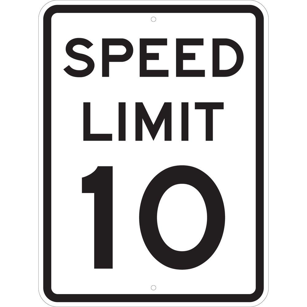 Brady 24 in. x 18 in. Speed Limit 10 MPH Sign, Black Keep drivers aware of lowered speed zones with help from the Brady Traffic Sign 24 in. x 18 in. Speed Limit 10 MPH Sign. This sign features a reflective aluminum build to help provide visibility. Color: Black.