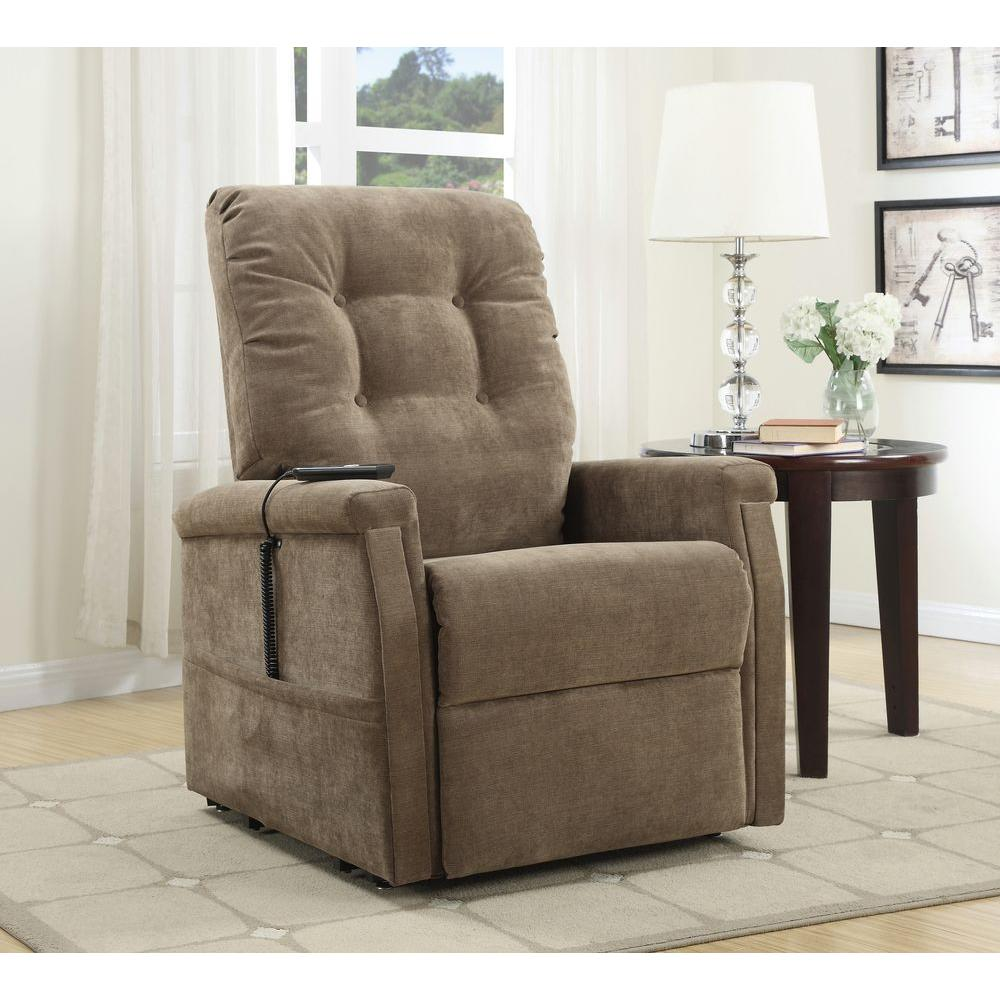 PRI Brown Fabric Power-Lift Recliner-DS-1667-016-051 - The Home Depot